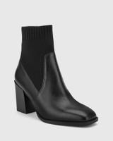 Simmie Black Leather Block Heel Pull On Ankle Boot.