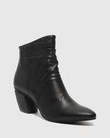 Attius Black Leather Block Heel Ankle Boot.