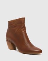 Attius Brandy Leather Block Heel Ankle Boot.