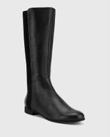 Drue Black Leather Stretch Knit Gusset Round Toe Long Boot.
