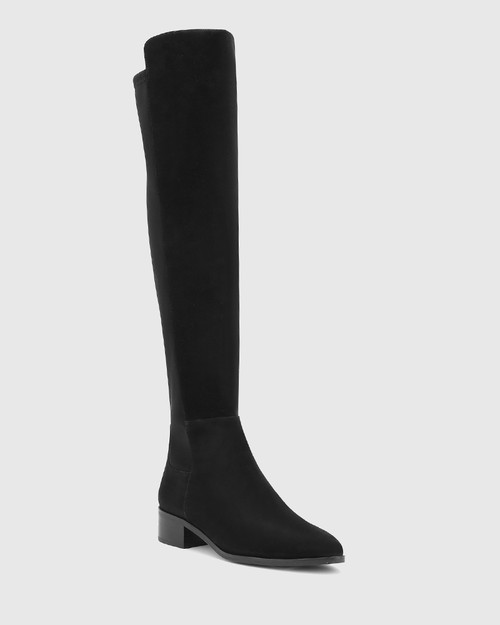 Gianna Black Suede Leather/Neoprene Stretch Over The Knee Boot. & Wittner & Wittner Shoes