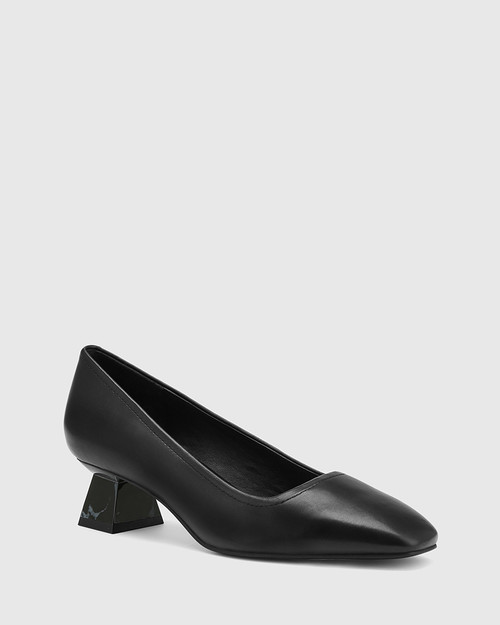 Gates Black Leather Flared Heel Pump.