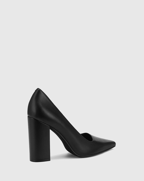 Webster Black Leather Block Heel Pointed Toe Pump.