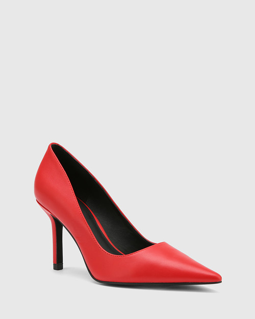 Quendra Red Leather Pointed Toe Pump.