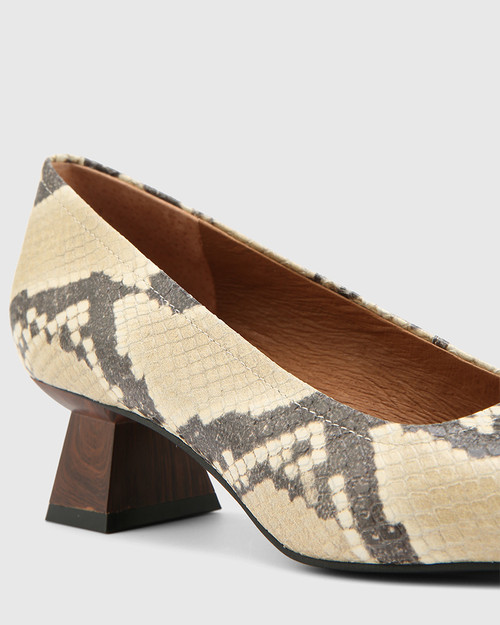 Gates Buttercream Anaconda Leather Flared Heel Pump
