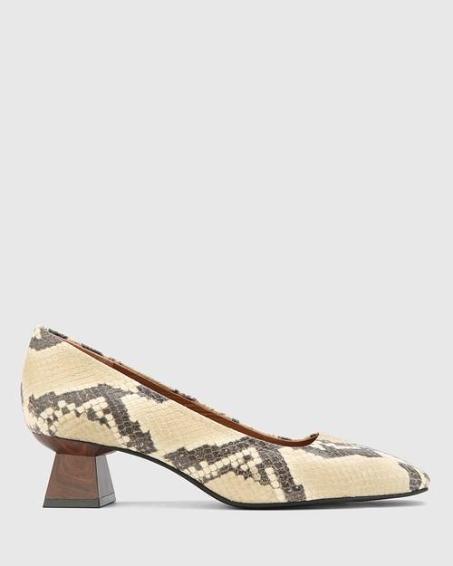 Gates Buttercream Anaconda Leather Flared Heel Pump.