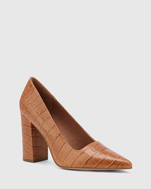 Webster Tan Croc-Embossed Leather Block Heel Pointed Toe Pump