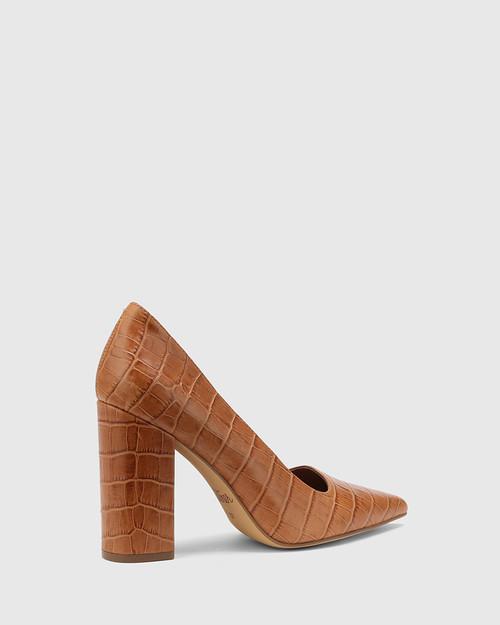 Webster Tan Croc-Embossed Leather Block Heel Pointed Toe Pump & Wittner & Wittner Shoes