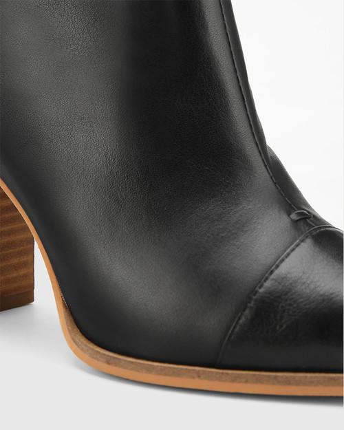 Horatia Black Leather Block Heel Ankle Boot. & Wittner & Wittner Shoes