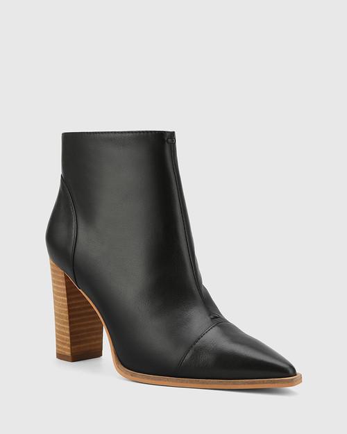 Horatia Black Leather Block Heel Ankle Boot.