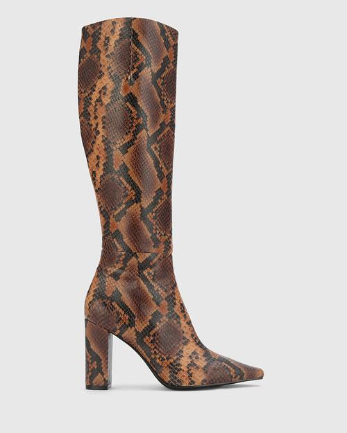 Hanthey Black & Brown Anaconda Print Leather Block Heel Long Boot.