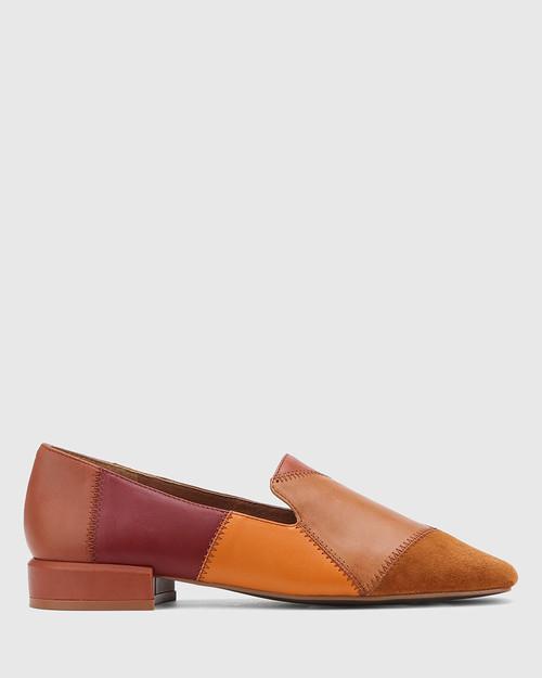 Alita Multi Patchwork Leather Square Toe Loafer. & Wittner & Wittner Shoes