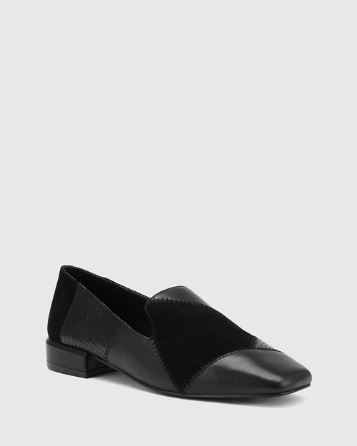Alita Black Patchwork Leather Square Toe Loafer.