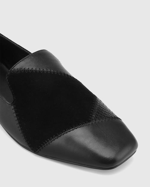 Alita Black Patchwork Leather Square Toe Loafer. & Wittner & Wittner Shoes