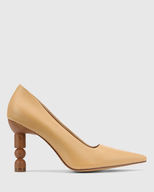 Hanina Latte Leather Sculptured Heel Pointed Toe Pump. & Wittner & Wittner Shoes