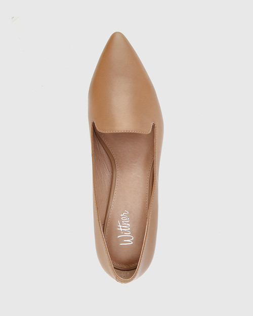 Atkins Cappuccino Leather Pointed Toe Low Block Heel Loafer. & Wittner & Wittner Shoes