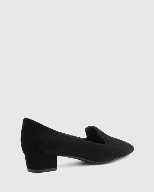 Atkins Black Suede Pointed Toe Low Block Heel Loafer.