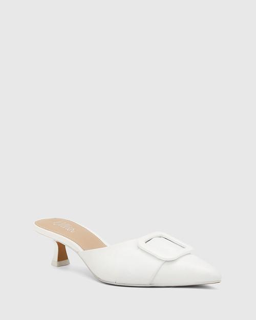 Gia White Leather Buckle Trim Kitten Heel Mule.