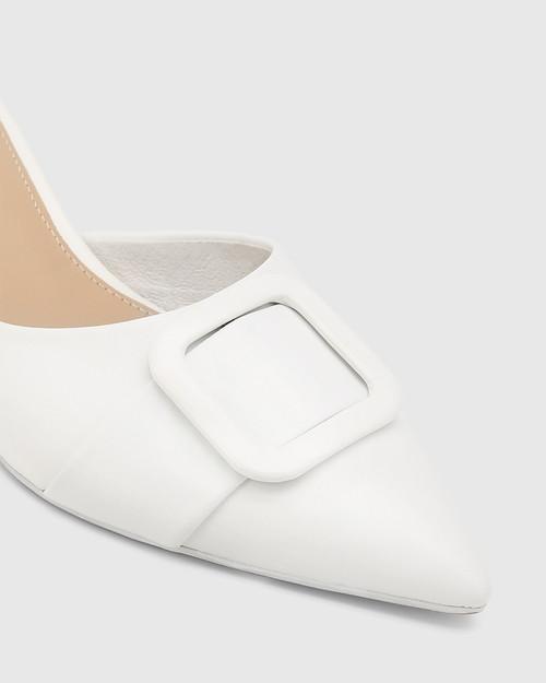 Gia White Leather Buckle Trim Kitten Heel Mule. & Wittner & Wittner Shoes