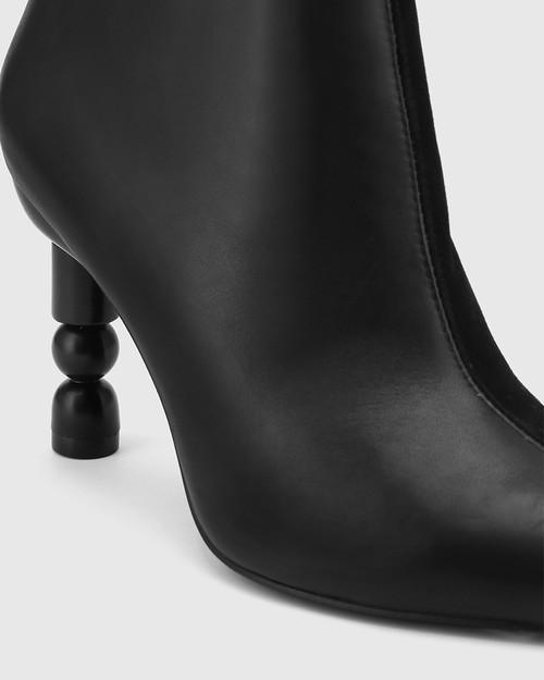 Hanalee Black Leather Sculptured Heel Ankle Boot. & Wittner & Wittner Shoes