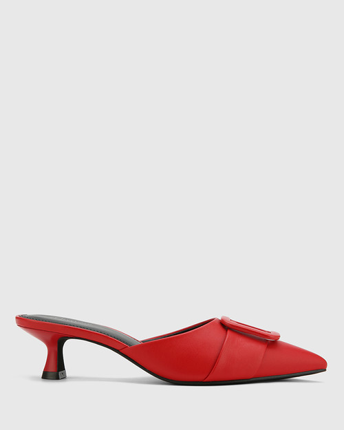 Gia Red Leather Buckle Trim Kitten Heel Mule.