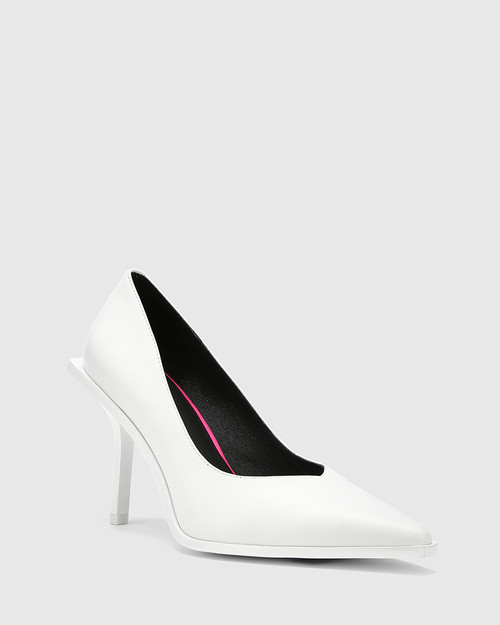 Haylen White Leather Extended Heel Pointed Toe Pump.