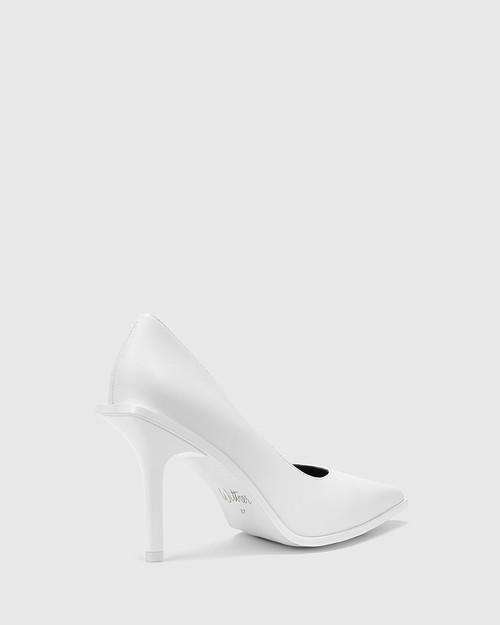 Haylen White Leather Extended Heel Pointed Toe Pump. & Wittner & Wittner Shoes