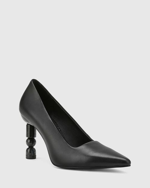 Hanina Black Leather Sculptured Heel Pointed Toe Pump.