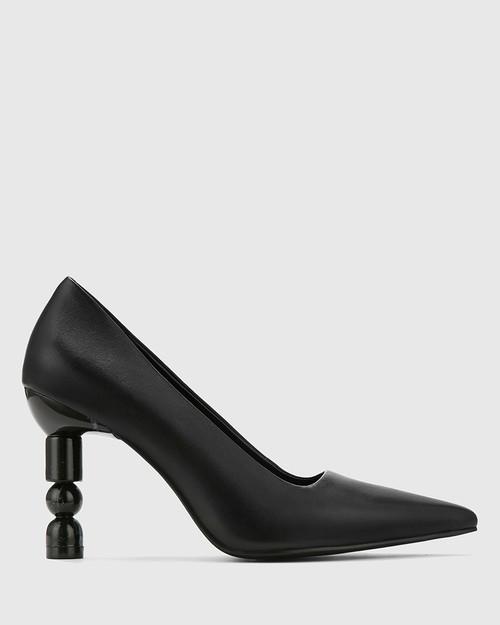 Hanina Black Leather Sculptured Heel Pointed Toe Pump. & Wittner & Wittner Shoes