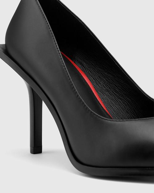 Haylen Black Leather Extended Heel Pointed Toe Pump. & Wittner & Wittner Shoes
