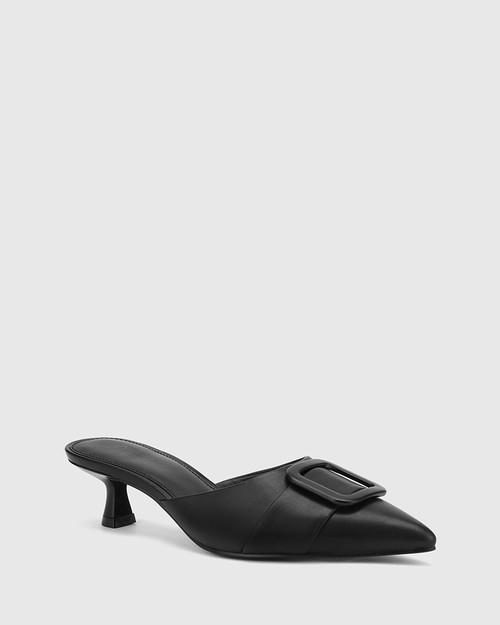 Gia Black Leather Buckle Trim Kitten Heel Mule.