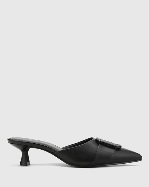 Gia Black Leather Buckle Trim Kitten Heel Mule. & Wittner & Wittner Shoes