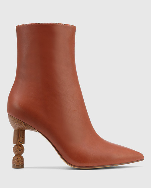 Hanalee Auburn & Buttercream Leather Sculptured Heel Ankle Boot. & Wittner & Wittner Shoes
