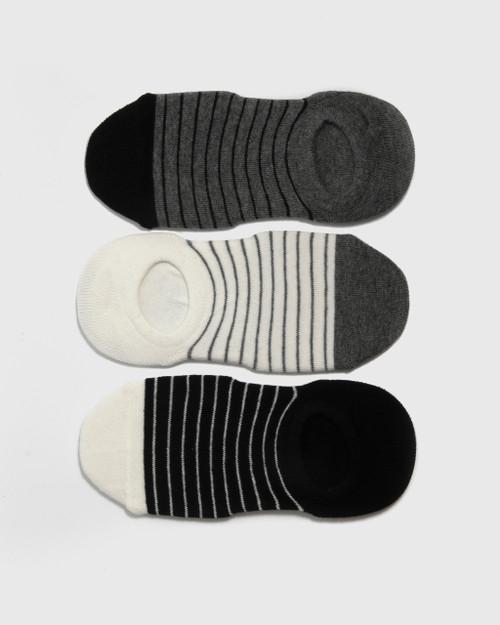 Sneaker Sock Trio - White/Grey/Black Stripe