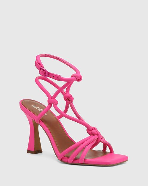 Roxanne Hot Fuchsia Leather Flared Heel Strappy Sandal.
