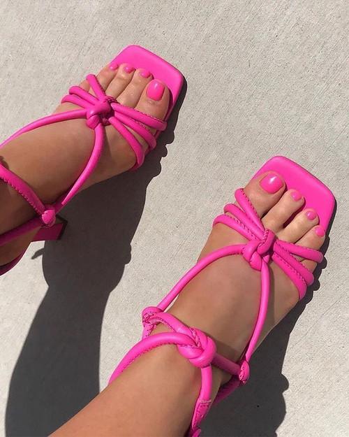 Roxanne Hot Fuchsia Leather Flared Heel Strappy Sandal. & Wittner & Wittner Shoes