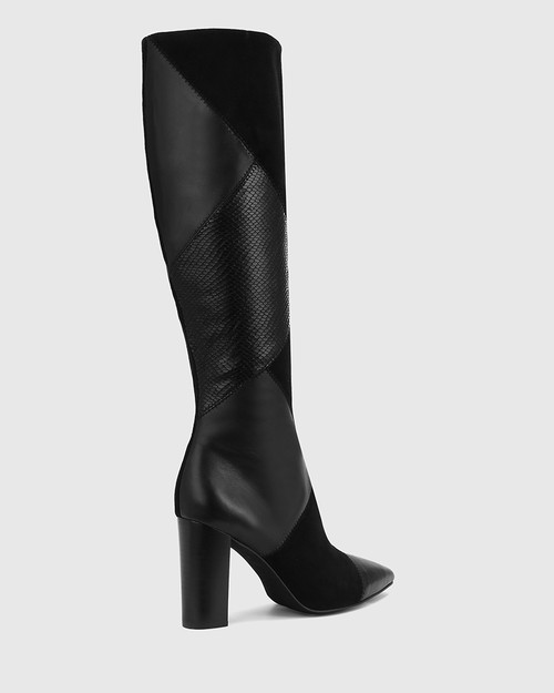Hawn Black Patchwork Leather Block Heel Long Boot. & Wittner & Wittner Shoes