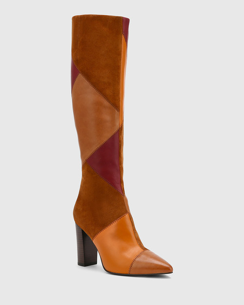 Hawn Multi Patchwork Leather Block Heel Long Boot.