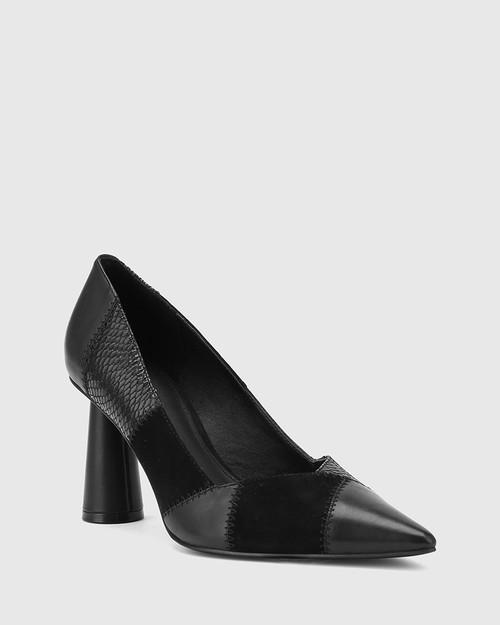 Quelle Black Patchwork Leather Cone Heel Pump.