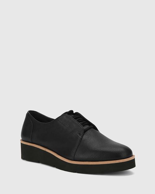 Jax Black Leather Platform Brogue.