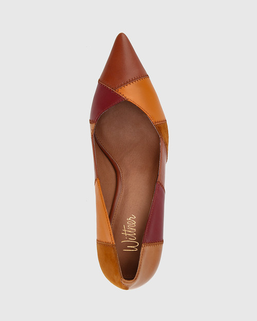 Quelle Multi Patchwork Leather Cone Heel Pump. & Wittner & Wittner Shoes
