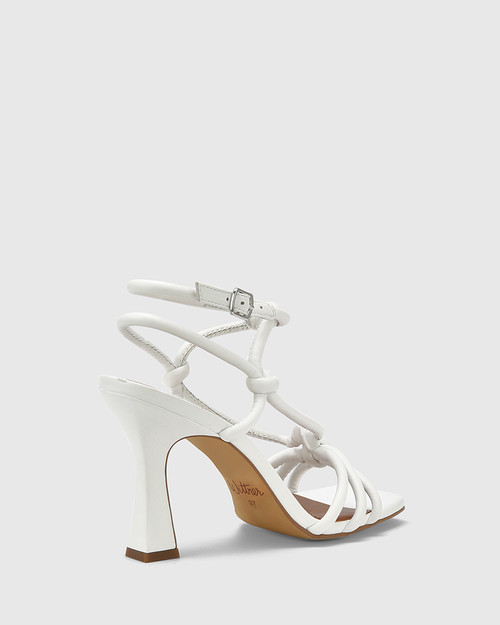 Roxanne White Leather Flared Heel Strappy Sandal.