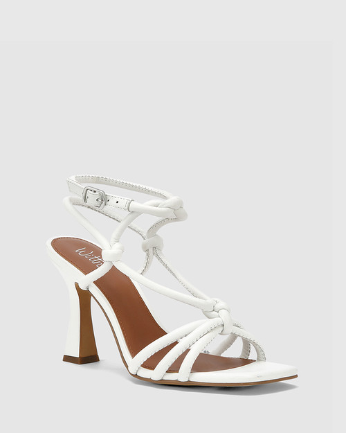Roxanne White Leather Flared Heel Strappy Sandal