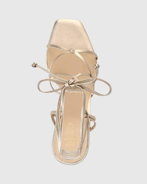Rikita Tuscan Gold Leather Sculptured Heel Strappy Sandal. & Wittner & Wittner Shoes