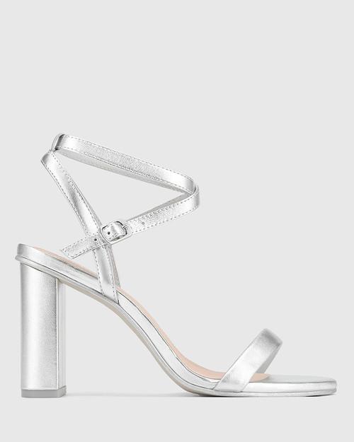 Raven Silver Leather Open Toe Block Heel. & Wittner & Wittner Shoes