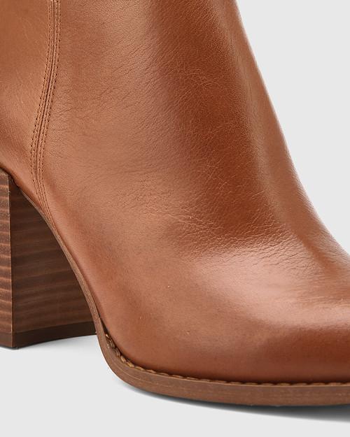 Handler Dark Cognac Leather Block Heel Ankle Boot. & Wittner & Wittner Shoes