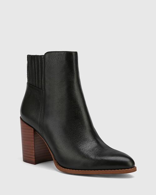 Handler Black Leather Block Heel Ankle Boot.