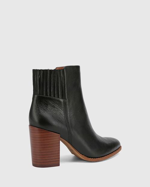 Handler Black Leather Block Heel Ankle Boot. & Wittner & Wittner Shoes