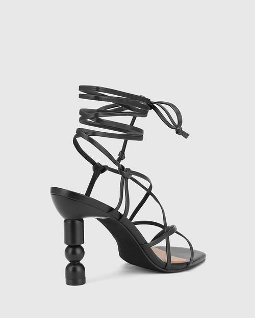 Rikita Black Leather Sculptured Heel Strappy Sandal. & Wittner & Wittner Shoes