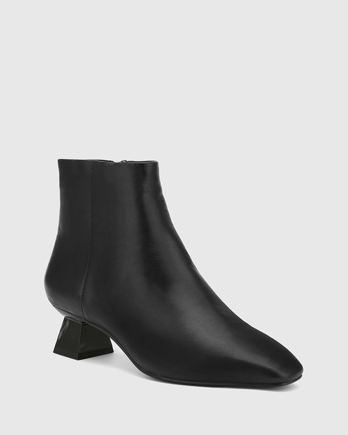 Gotham Black Leather Sculptured Heel Ankle Boot.